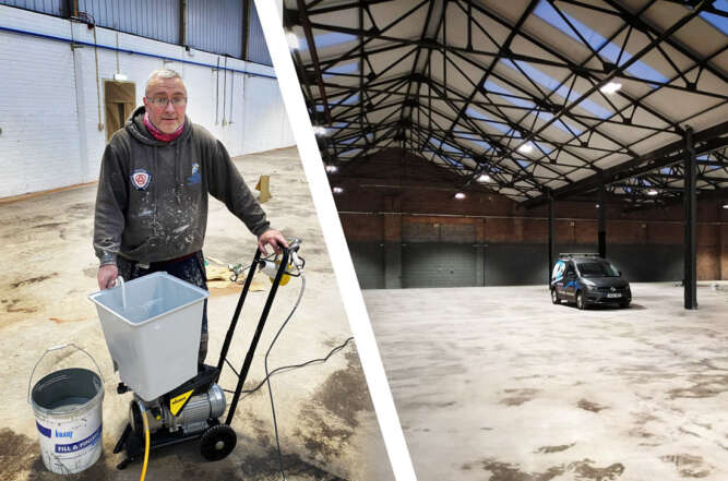Airless Spray Painting a Warehouse